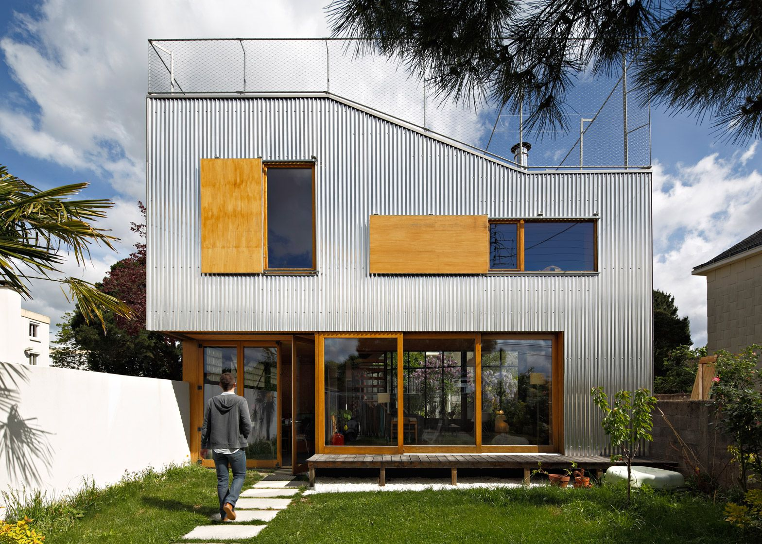 Cool French House Exterior Corrugated Aluminium Facade Roof Top Terrace Windows Composition Fence Wood Garden Architecture House Exterior Houses In France