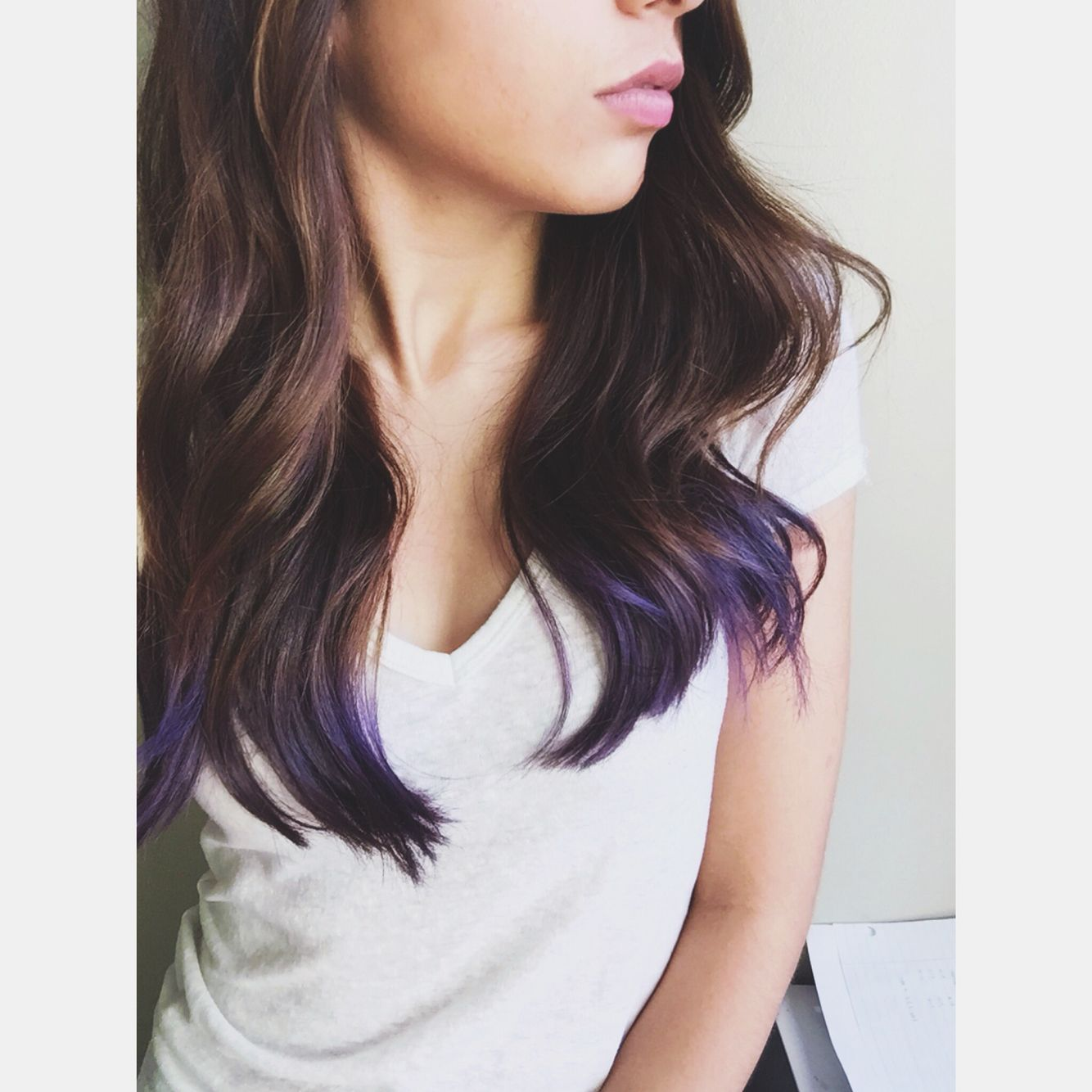 Purple dip dye hair on brunette hair using Ion Color Brilliance ...