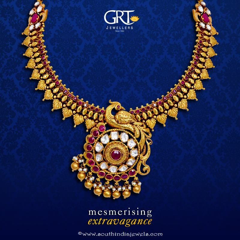 f1c4951fd GRT Jeweller's Gold Antique Necklace Design | Jewellery collections ...
