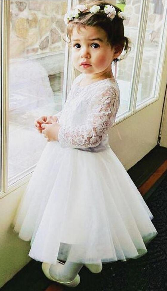 4ffe28563c Long Sleeves Lace Flower Girl Dress