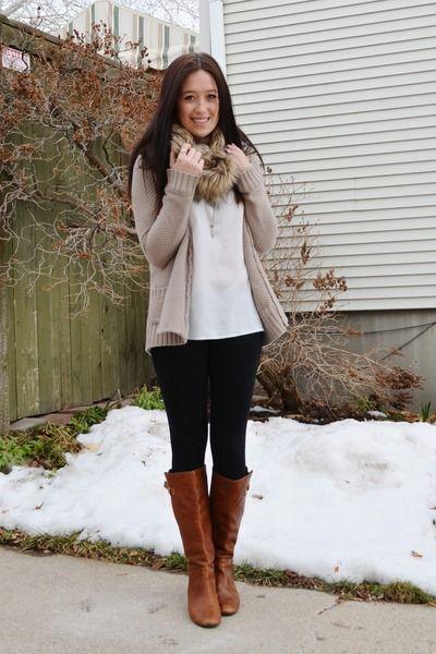 Day 1 , black jeans, loose white top , tan sweater, tan