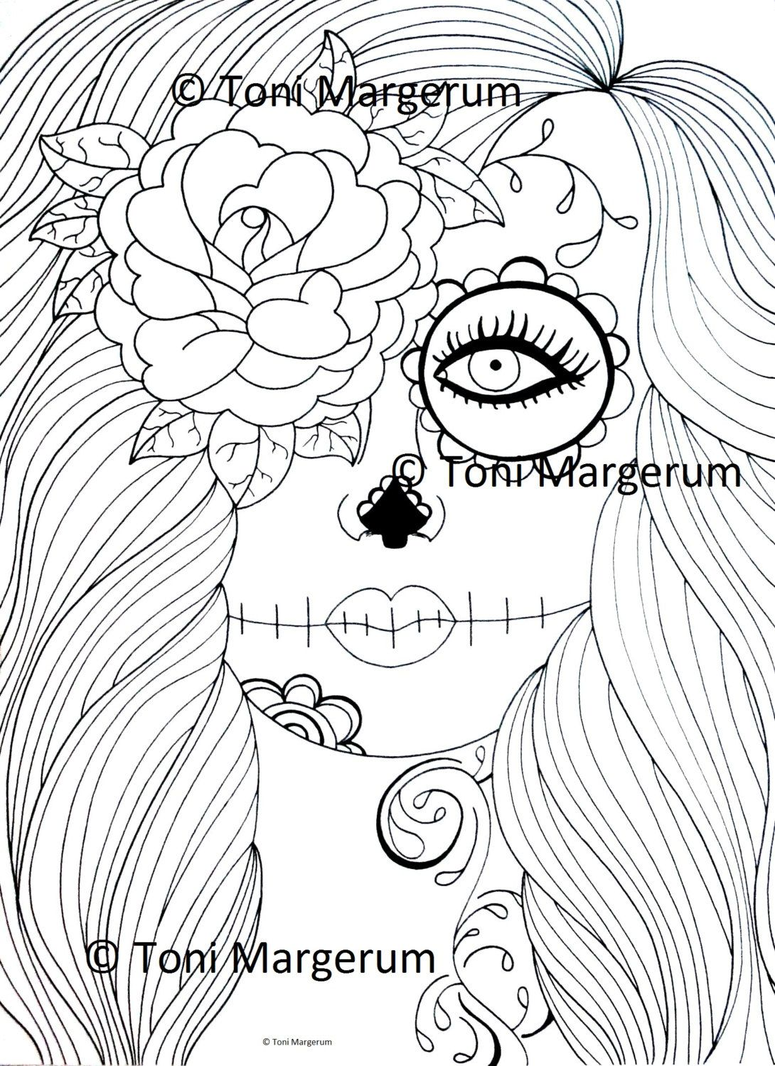 digital download sugar skull girl instant coloring page original day of the dead art dia de - Day Of Dead Coloring Pages