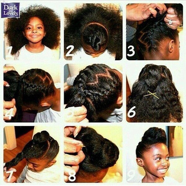 Quick And Easy Kid Braid Updo Natural Hairstyle Pictorial Kids Hairstyles Hair Styles Little Girl Hairstyles