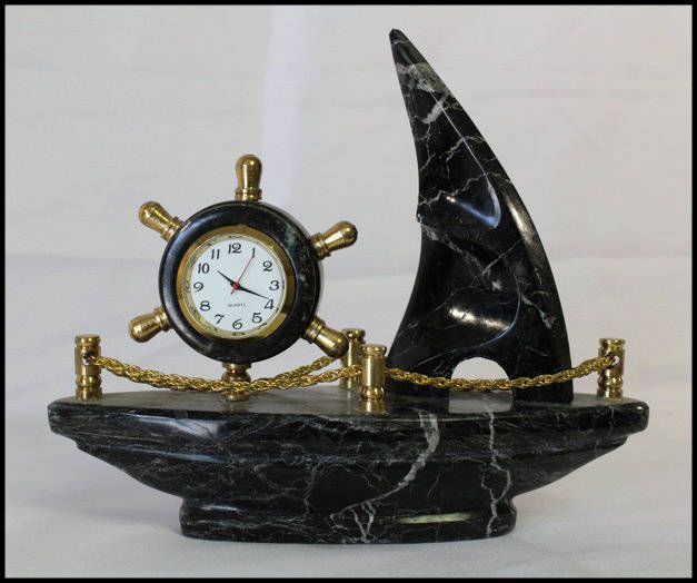 Black Onyx Ship Clock Gemstone Clock Gifts For Him Trendy