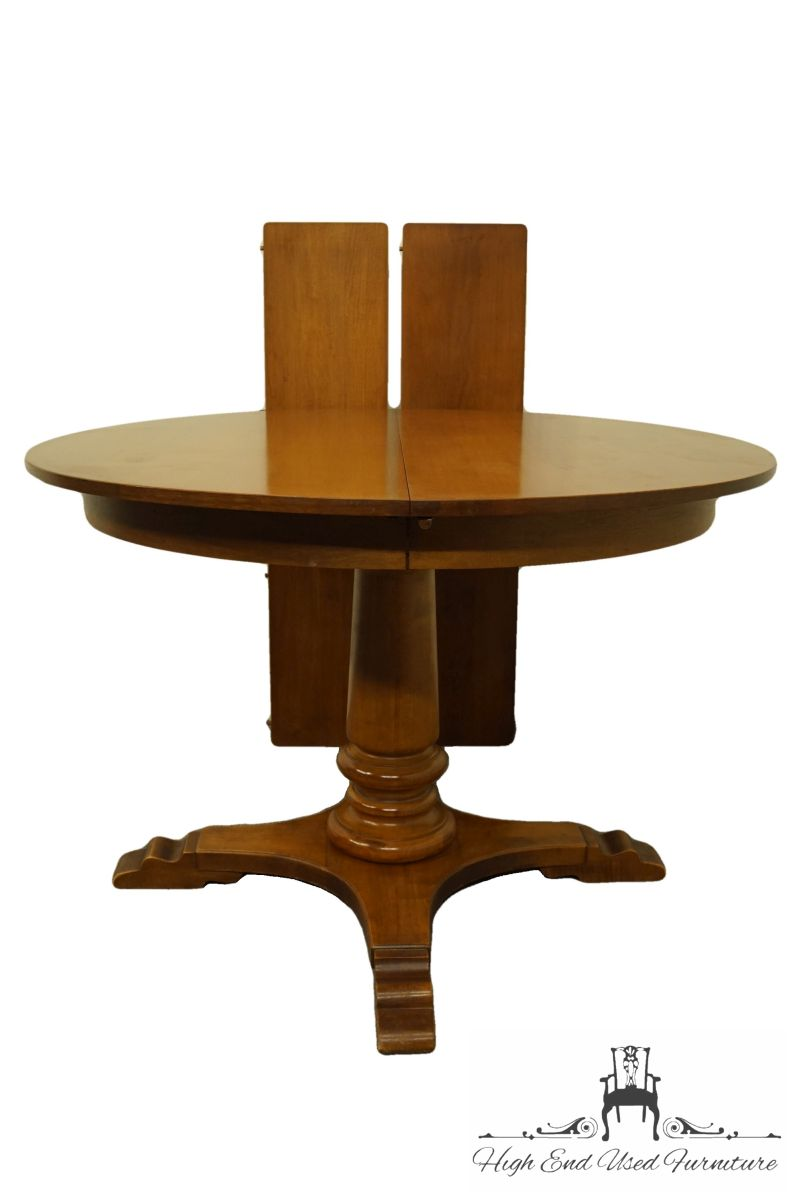 Tell City Colonial Style 44 Round Pedestal Dining Table 48 Andover Finish High End Used Furniture Round Pedestal Dining Table Round Pedestal Dining Pedestal Dining Table