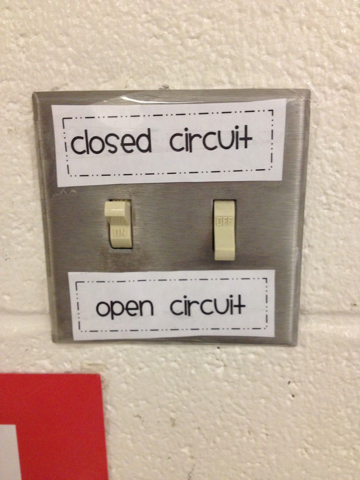 Light Switch Labels For Open And Closed Circuits