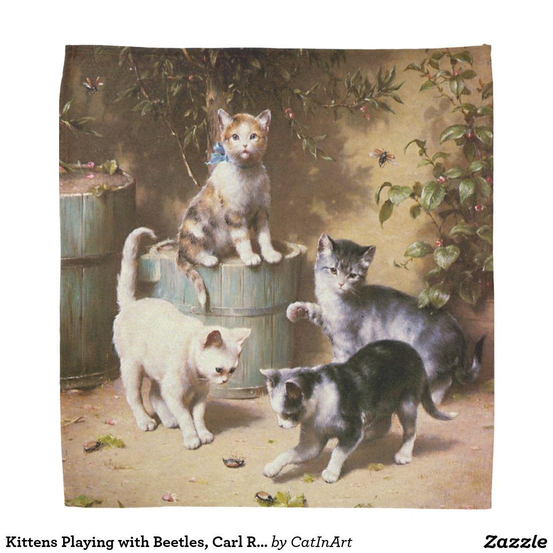 Kittens Playing With Beetles Carl Reichert Bandana Cat Painting Pet Artist Kittens Playing