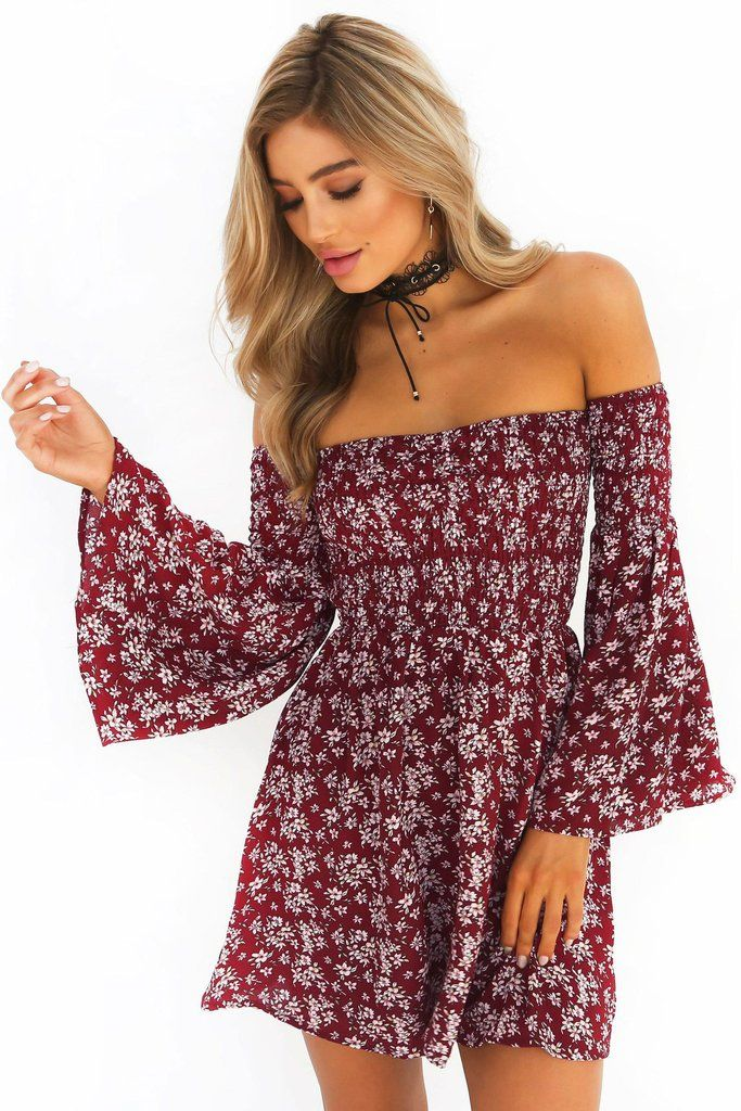 c478ba13626 Off Shoulder Floral Print Long Trumpet Sleeves Short Dress
