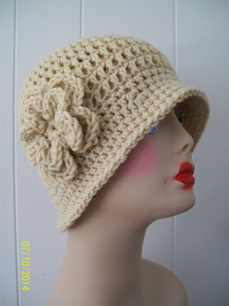 HAND CROCHET  CLOCHE BEANIE FLAPPER HAT... HEATHER W/ FLOWER... Check out my customer appreciation sale...buy 5 and get a 6th one free......