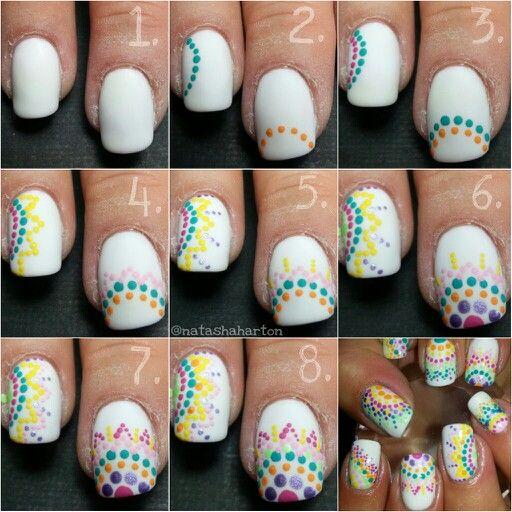 Dot nail art tutorial. Great for Easter