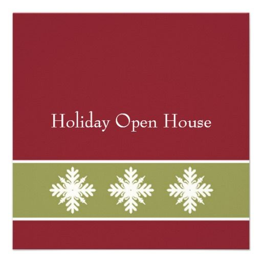 Holiday Open House Invites Olive and Red Snowflake Open house