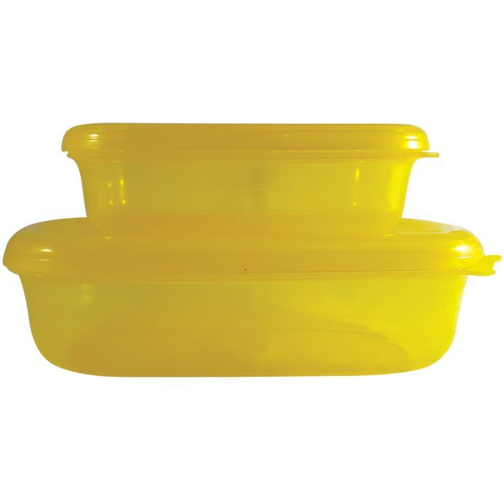 Conjunto de 2 Potes Herméticos Retangular Freezer Microondas Amarelo