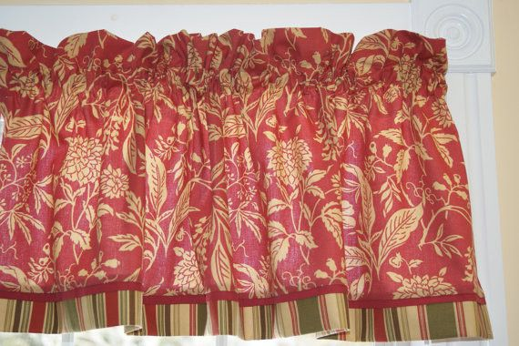 Black Red White Floral Toile Valance 17 x 81  Can Alter Curtain Window Treatment