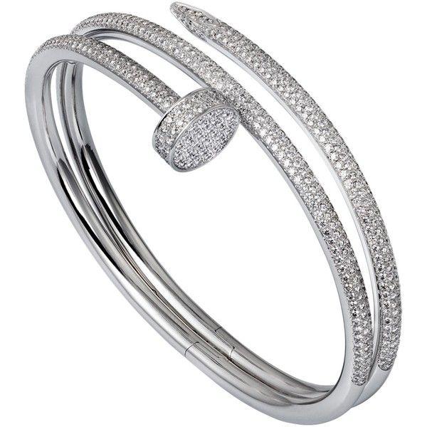 CARTIER Juste un clou 18ct white gold and diamond double bracelet