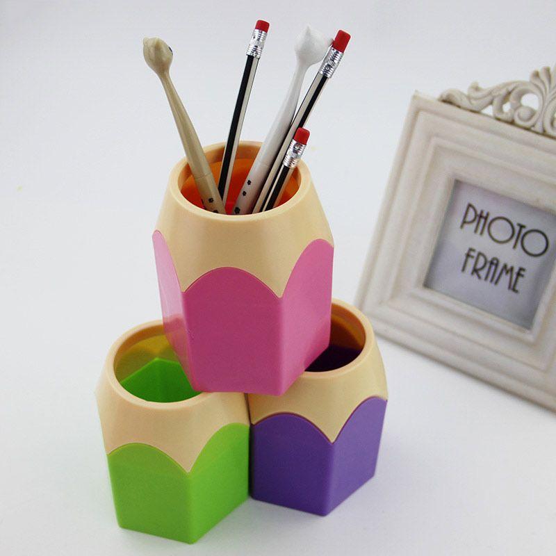 창조적 인 펜 꽃병 연필 냄비 메이크업 브러쉬 홀더 문구 컨테이너 책상 깔끔 다기능 펜 홀더 1 개