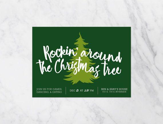 Rockin' Around The Christmas Tree PRINTABLE Christmas Party Invitation