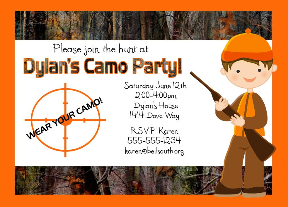 Custom Hunting Party Invitations (12-Count) | Party invitations ...