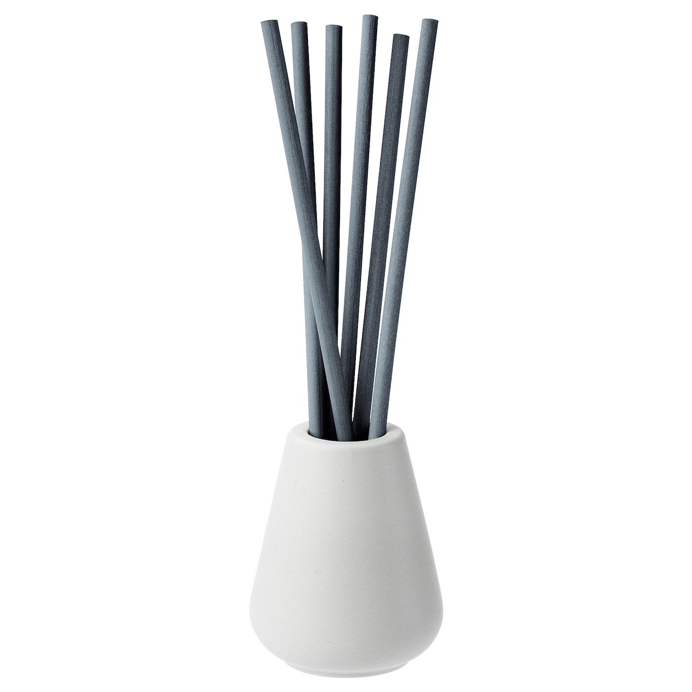 NJUTNING Vase and 6 scented sticks - Blossoming bergamot, gray - IKEA