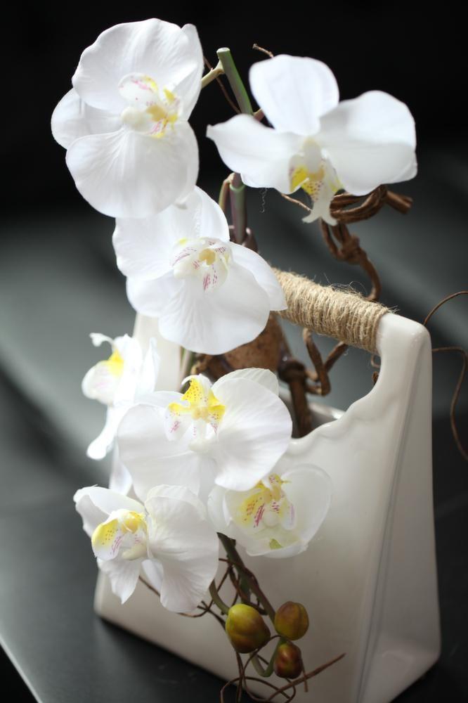 Orchidee Blanche Avec Vase Panier 1 Fleur Artificielle Deco