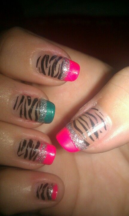 Pink and teal zebra