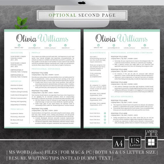 Resume Template  Cover Letter Template Professional By Landedpro