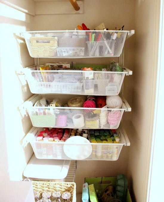 Hi Sugarplum   Craft Closet Organization   Slide Out Drawers In Dead Corner  Space In Closet