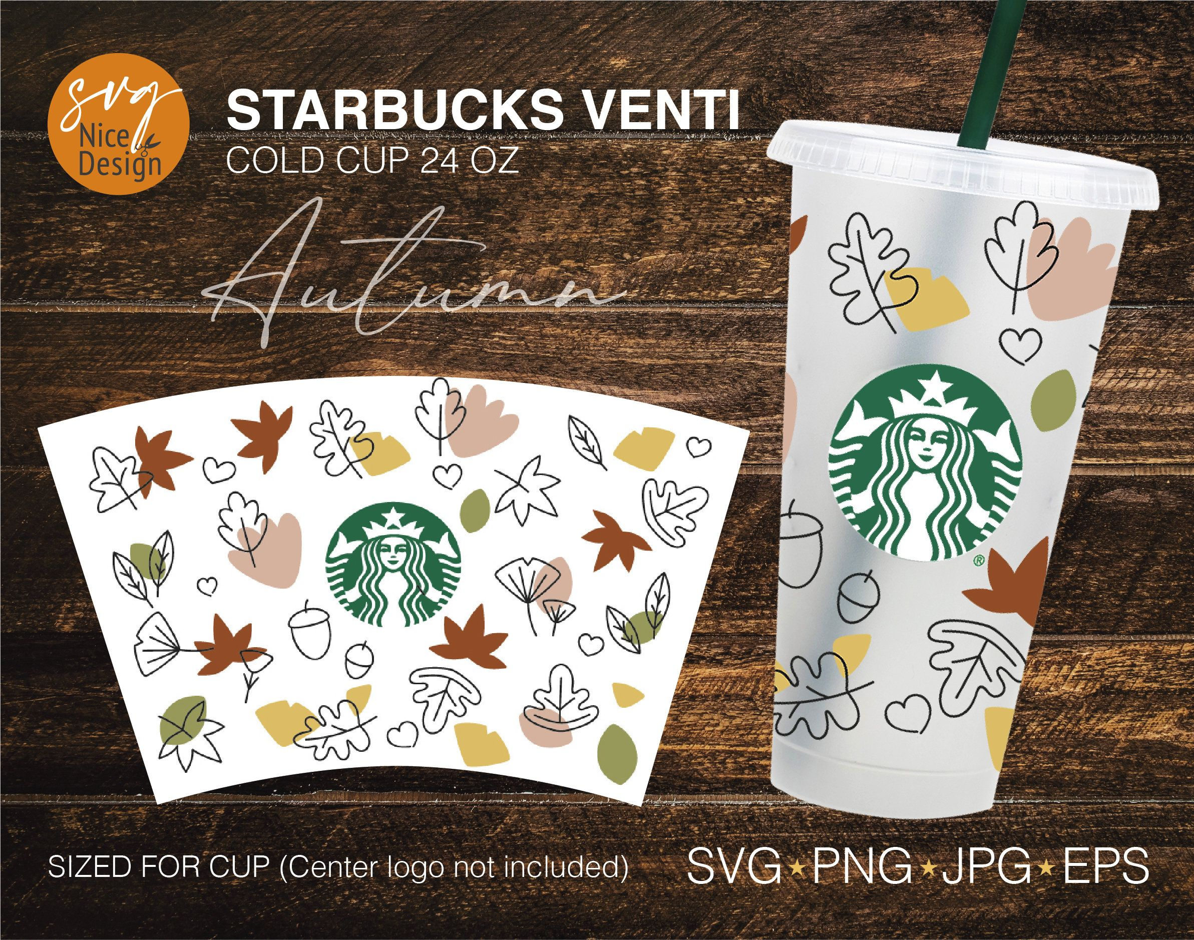 Maple Leaf pattern SVG,Fall Leaves Starbucks Cup svg,For 24oz Venti Cold Cup,DIY Instant Download for Cricut Maple Leaves Starbucks Cup SVG