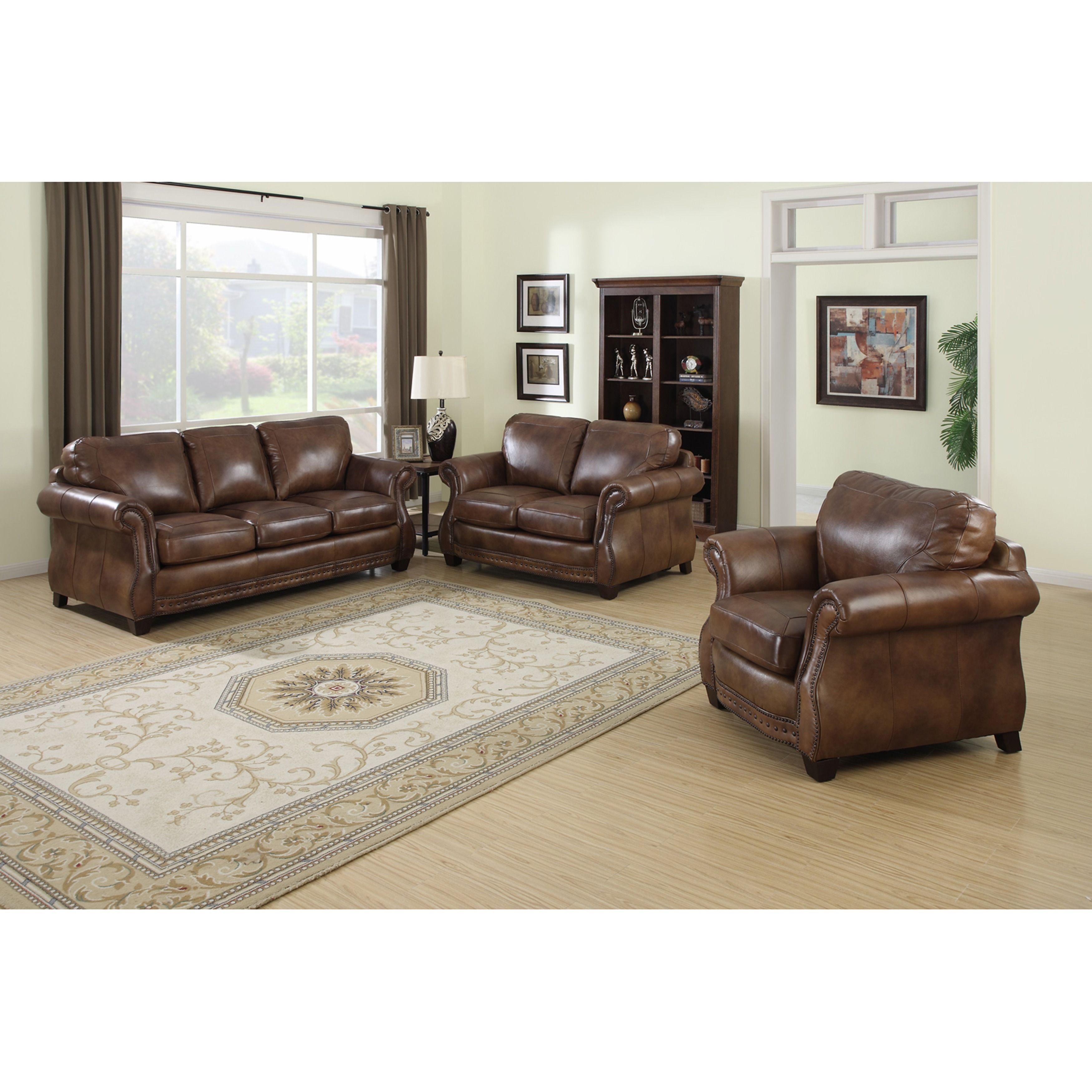 Sterling Cognac Brown Italian Leather Sofa Loveseat And Chair 39 X 86 X 39 In 2019 Sofa Loveseat Set Italian Leather Sofa Leather Sofa Loveseat