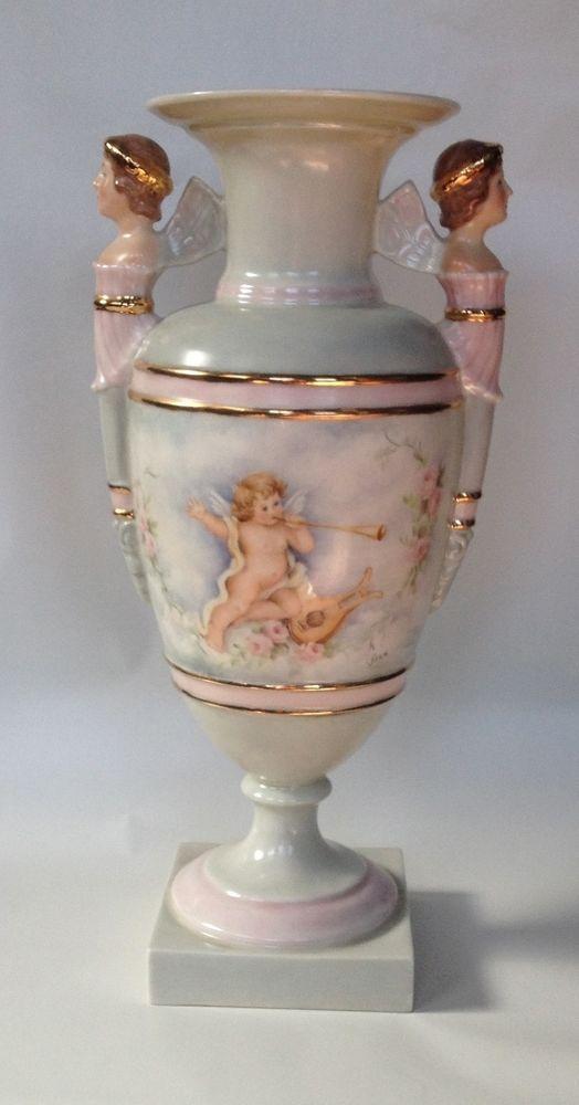 Lenox Vase Angels Rose Woman Goddess With Handles Vintage Green Mark