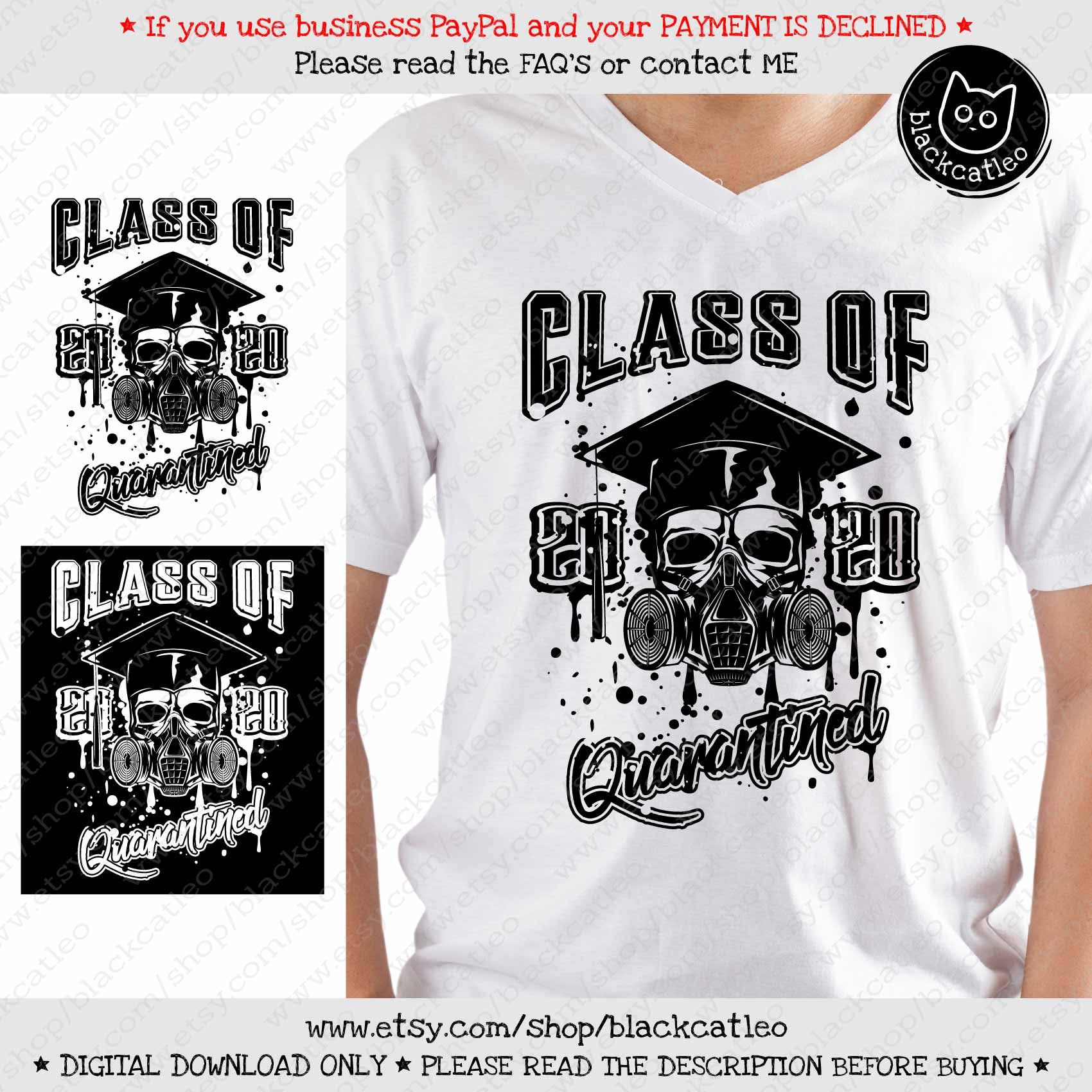 Class of 2020 distress skull with gas mask academic cap
