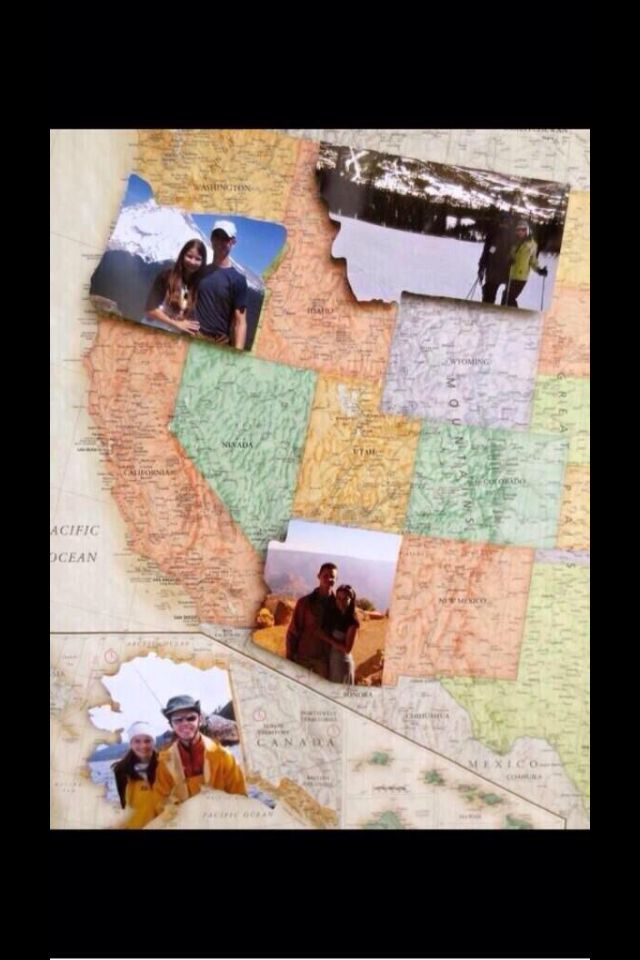 Puzzle pieces of US states from pictures you take together in that state. Want to do this!