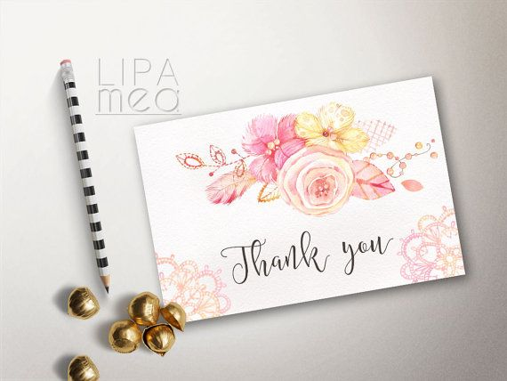Baby Shower Card Printable ~ Thank you card printable boho thank you card wedding thank you