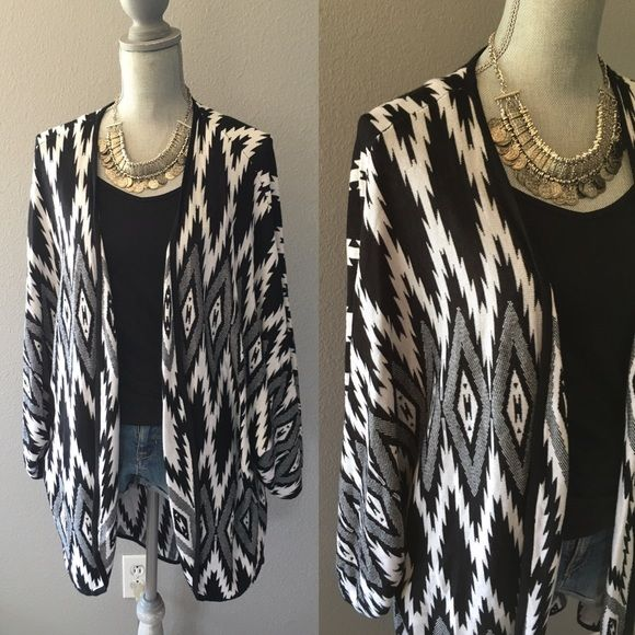 Aztec Sweater Black and white drape sweater, super soft Forever 21 Sweaters Shrugs & Ponchos