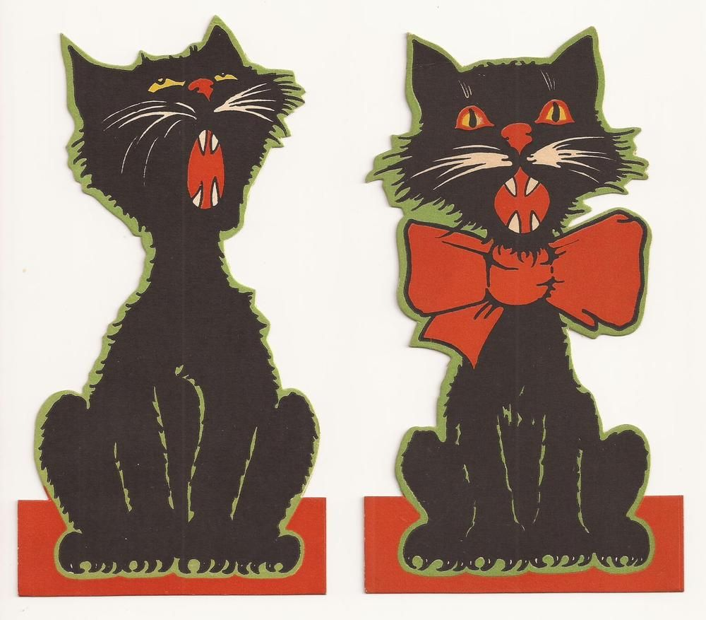 2 assorted vintage 1930s 1940s halloween black cat die cut party decorations unknown - Halloween Cat Decorations