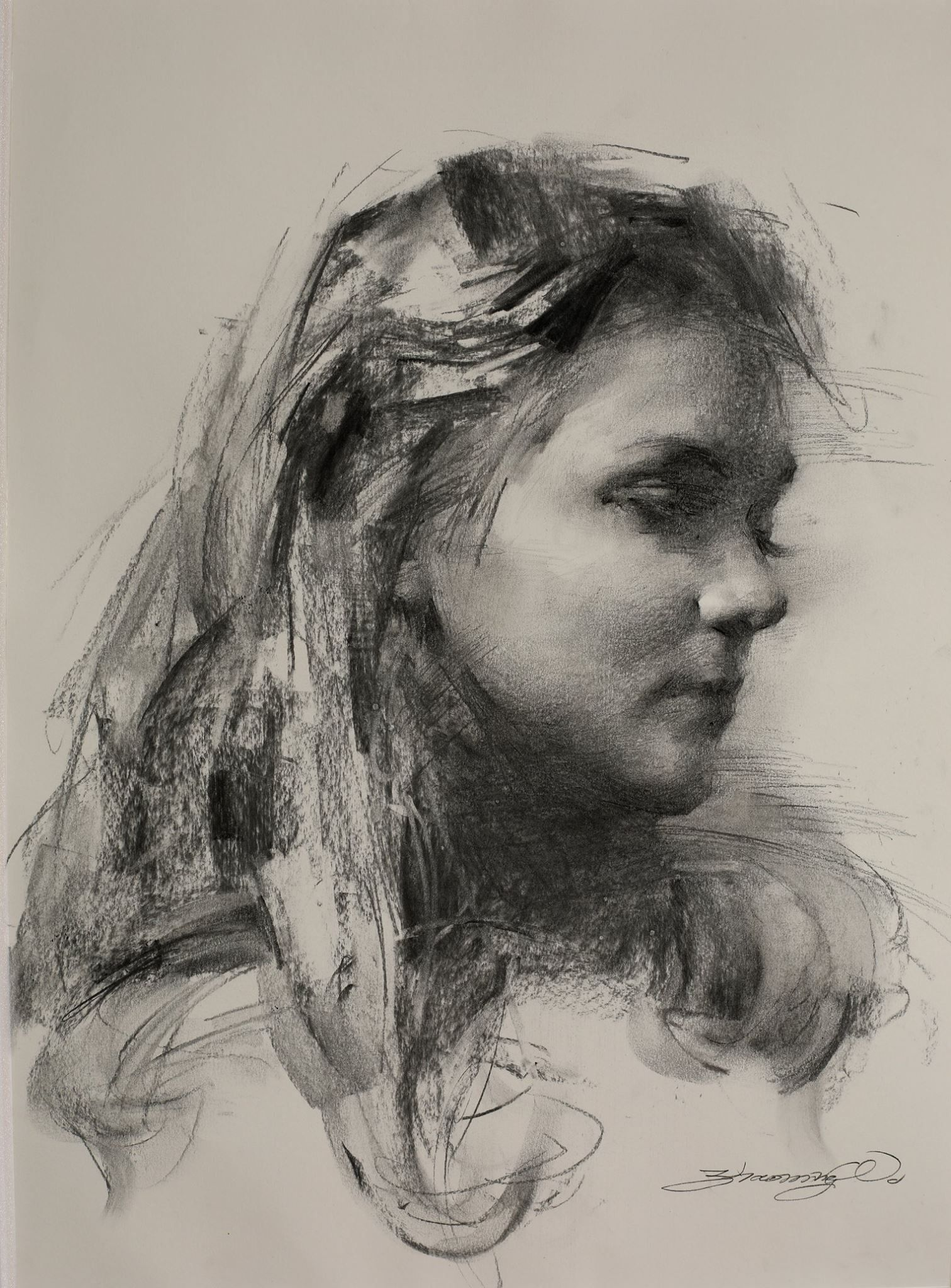 Zhaoming Wu The Portrait of a BYU student. Charcoal on