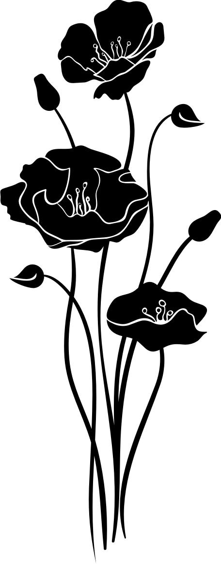 Mohnblume Wandtattoo Wandsticker Und Wandaufkleber Deine Wandtattoos De Stencil Art Flower Art