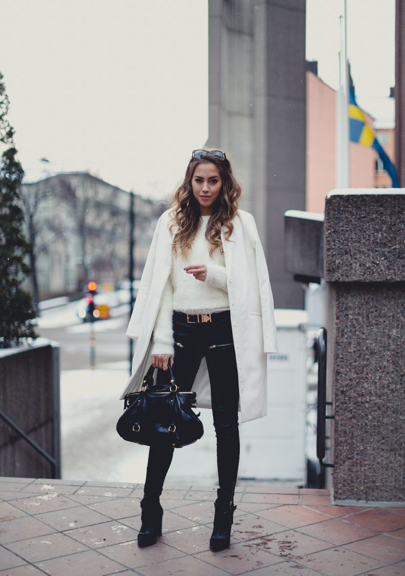 Black And White Only Outfits  Kenza Zouiten is wearing black leather  trousers from Jofama by Kenza 135a579dfae36