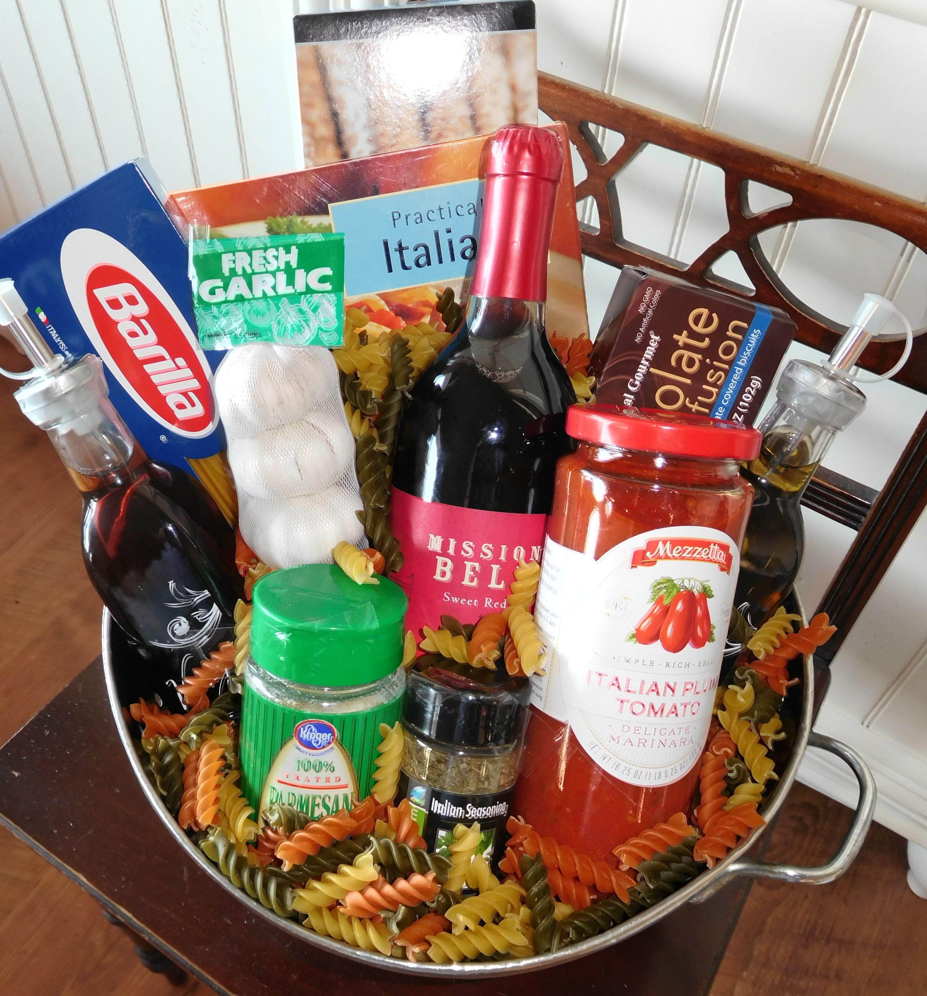 Italian Dinner Basket Pasta Strainer Bread Sticks Italian Cookbook Fresh Garlic Bottle Of Wi Italian Dinner Steak And Lobster Dinner Italian Cook Book