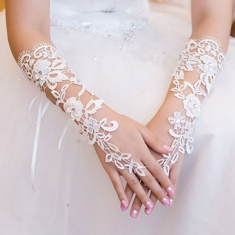 1 Pair Hot Sale Party Supplies Cream Lace Pearl Fishnet Gloves Communion Flower Kids Girl Accessories Fashion Style Cheap Sales 50% Girl's Accessories