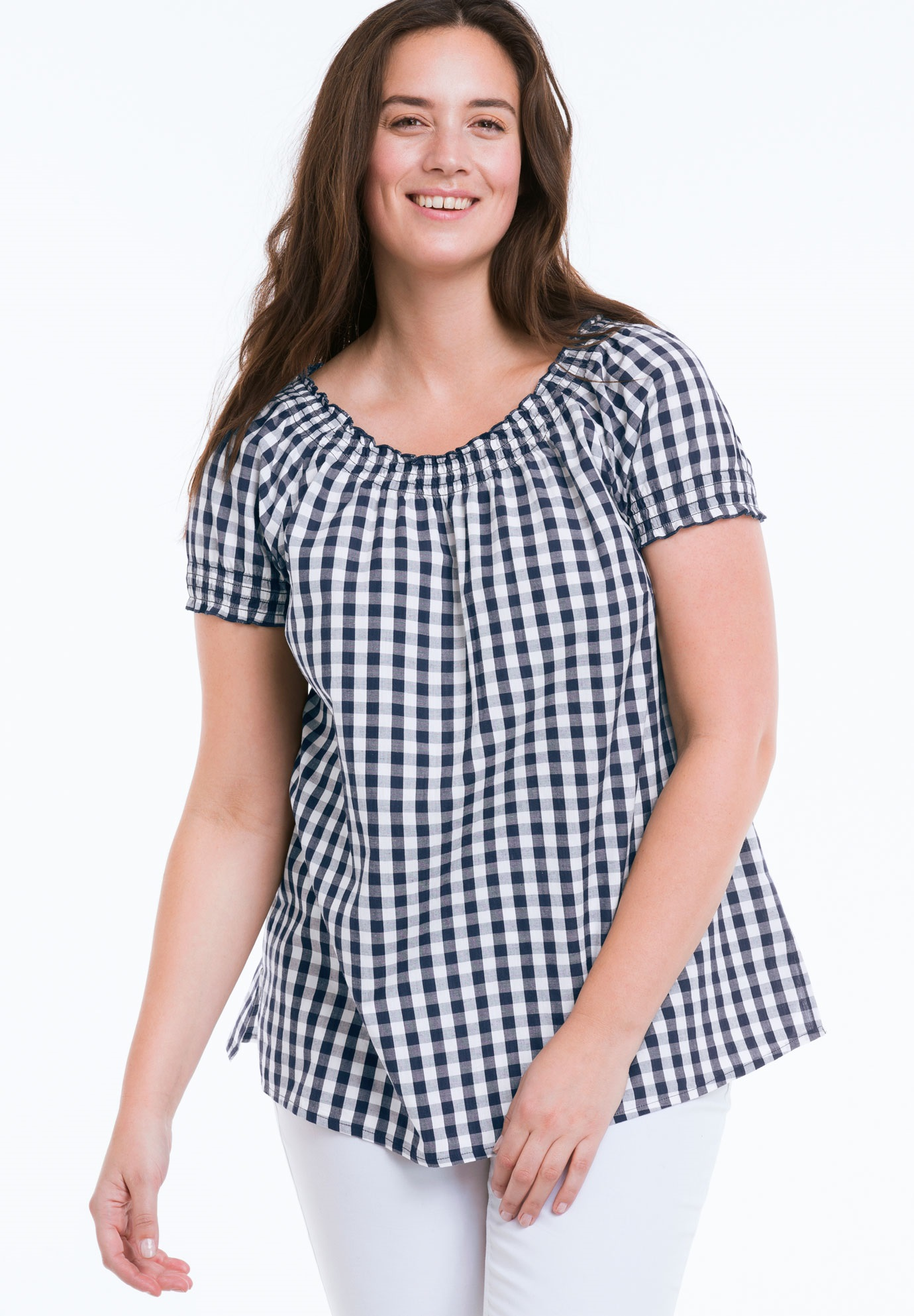 d3702927b4f Gingham Peasant Tunic by ellos - Women s Plus Size Clothing