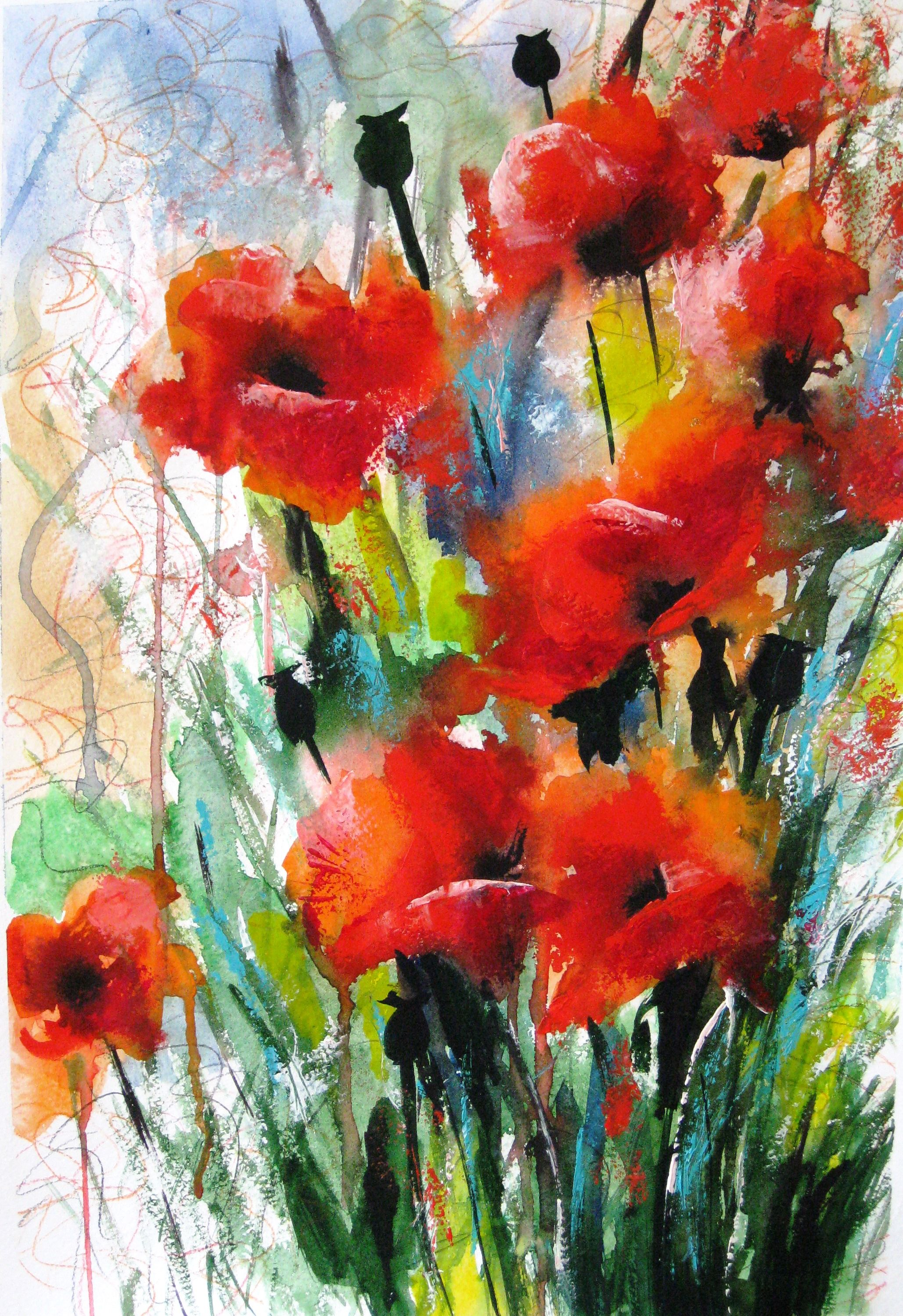 Watercolor Poppy Flower Painting Abstract Flower Art Floral Wall