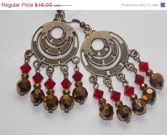 Gold and Red Chandelier Earrings   Red chandelier, Chandelier ...