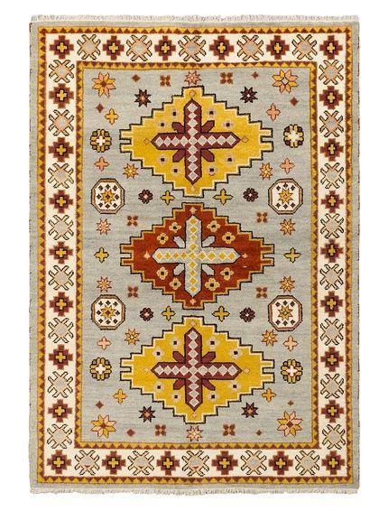 Hand-Knotted Royal Kazak Rug, Light Gray, 5\u0027 6\