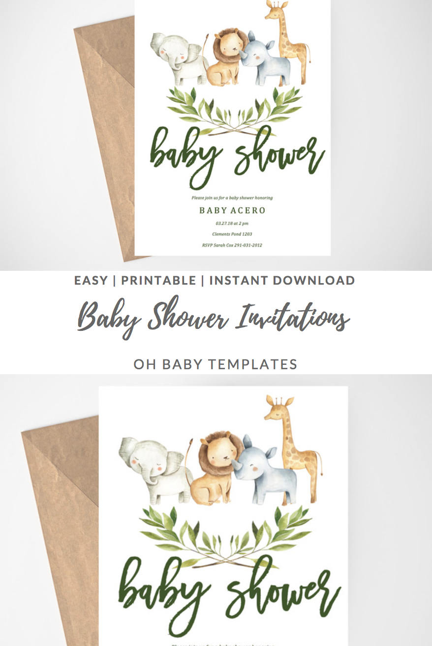 Safari Baby Shower Invitation Jungle