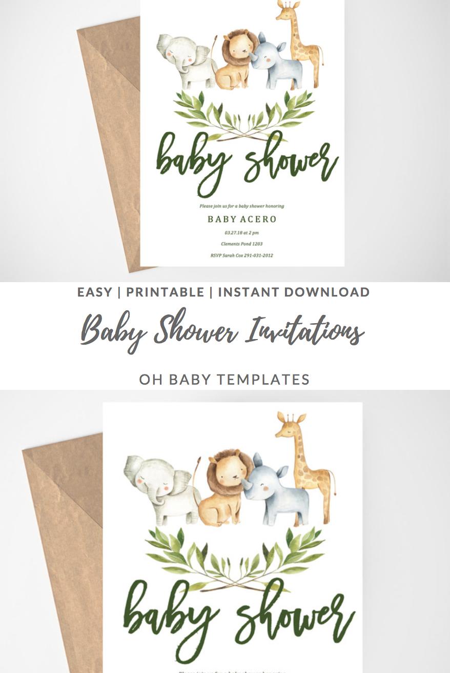 Safari Baby Shower Invitation Jungle Baby Shower Invitation Etsy