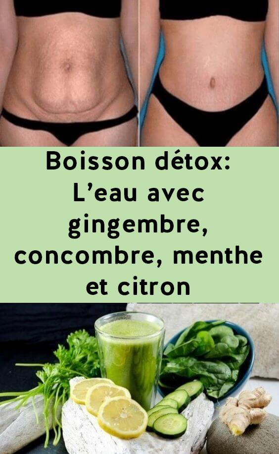 boisson détox: L'eau avec gingembre, concombre, menthe et