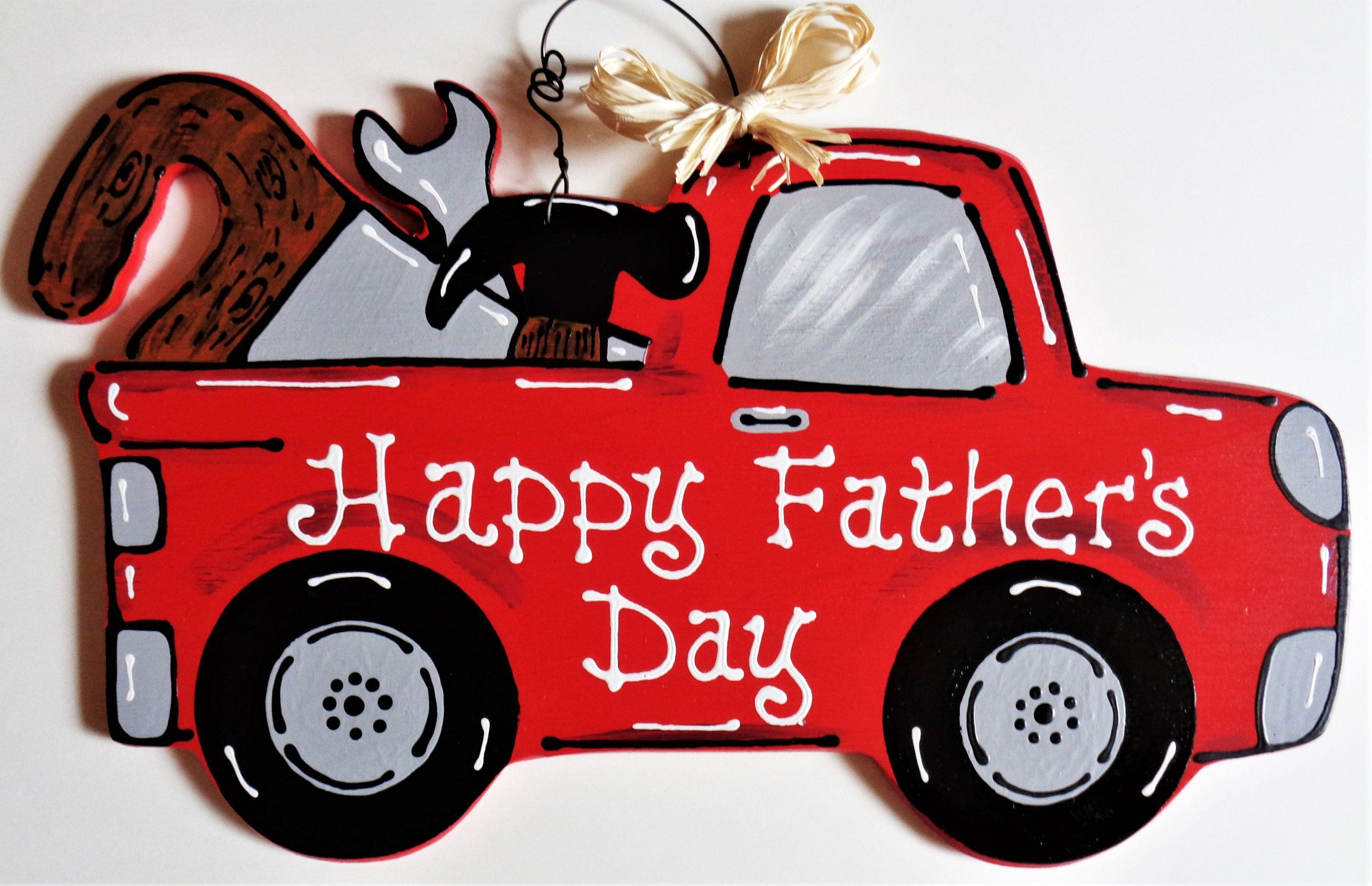 Happy fathers day vintage red truck sign tools hand