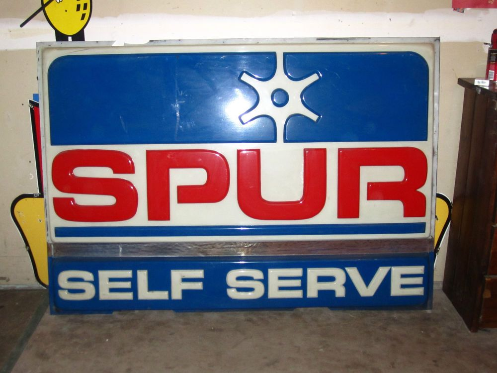 VINTAGE 1980'S SELF SERV SPUR GAS STATION EMBOSSED LEXAN SIGN FACE LIGHT IT UP! #SPUR