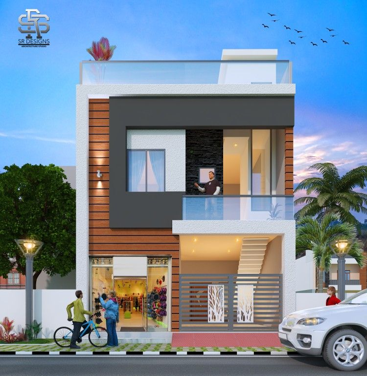 Modern House Elevation With Shop Space Small House Front Design Duplex House Design Small House Elevation Design