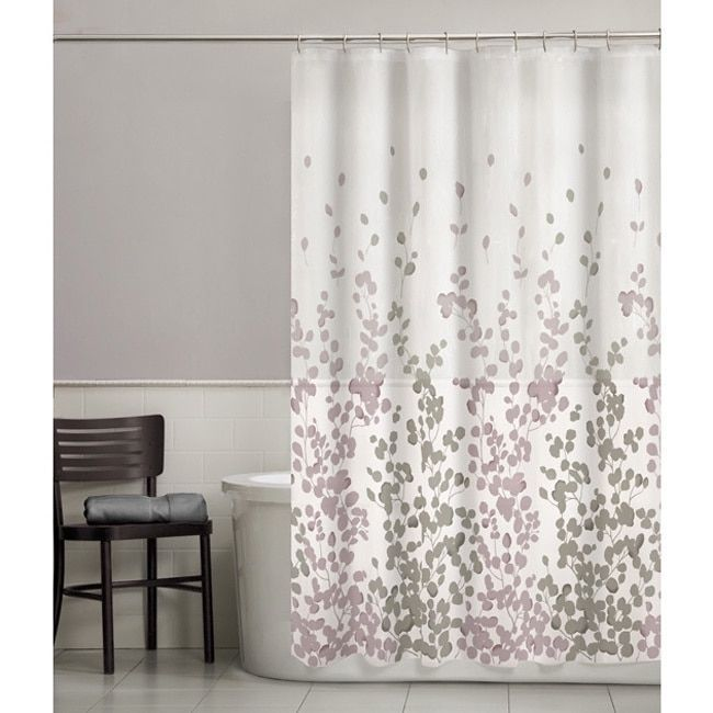Maytex Sylvia Fabric Shower Curtain Purple Polyester Floral